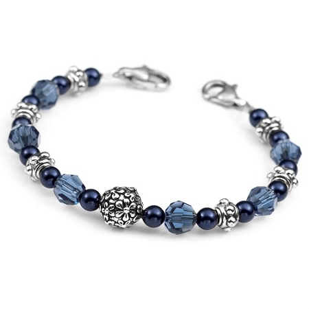 denim blue stainless steel beaded id bracelet