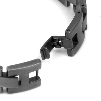 Medical Id Brushed Gray Stainless Adjustable Link Bracelet