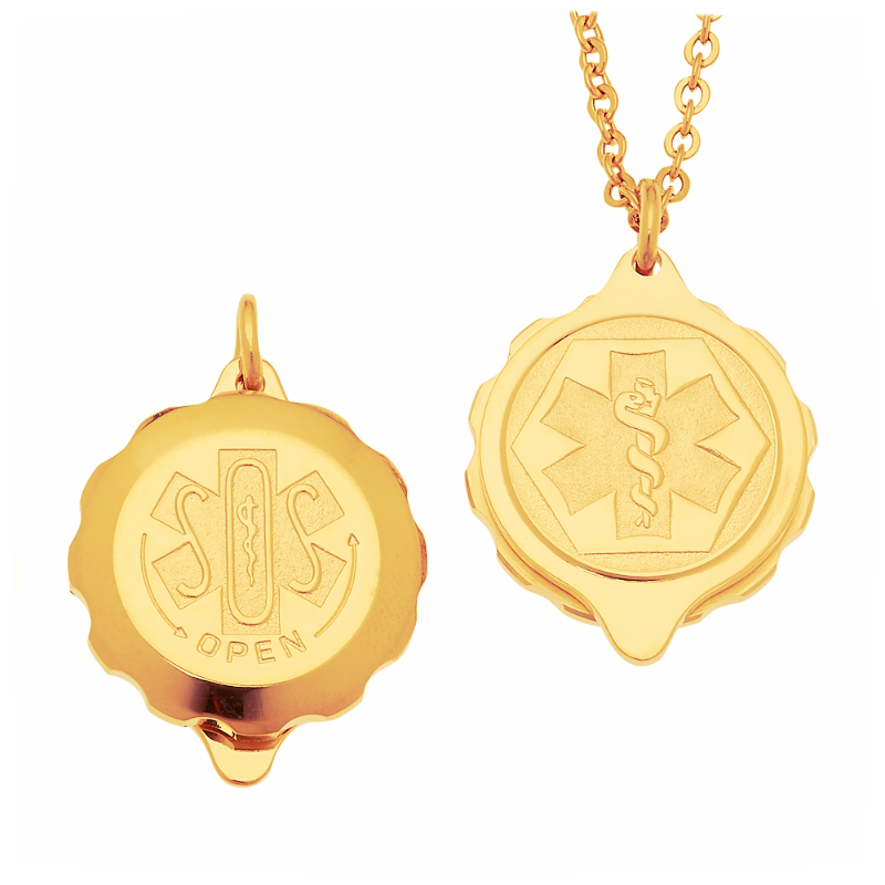 Unisex Sos Emergency Medical Id Necklace Gold Plated