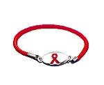 AIDS Awareness Silver Stretch Charm Bracelet