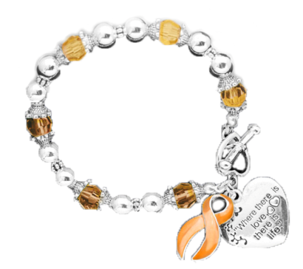 Bracelets on Multiple Sclerosis Awareness Silver Ribbon And Heart Charm Bracelet