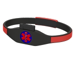 CARExcel USB Medical History Bracelet - Black and Red