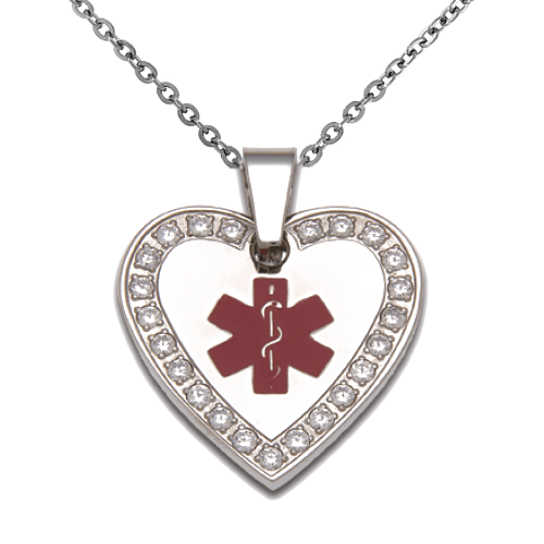 Medic Alert Necklace: Stainless Steel Medical ID Crystal Pendant Necklace