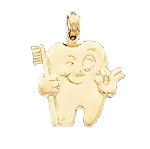 Dental Design Tooth Charm Pendant in 14K Yellow Gold