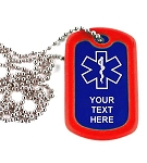 Design Your Own Medical Alert Dog Tag Necklace or Keychain ID