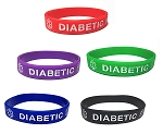 Diabetic Silicone Wristband Bracelet MEGA-PACK - 20 Size SMALL Bands