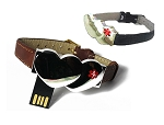 Key 2 Life® EMR Medi-Chip Double Heart Black or Brown Leather Band USB Bracelet
