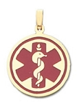 Round Medical ID Pendant in 10K, 14K Gold or Silver - 22mm