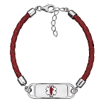 Sterling Silver and Enamel Medical ID Bracelet with Red Leather Band