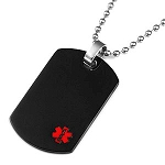 Stainless Steel Black Dog Tag Pendant with Small Red Medical ID Symbol