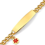 Stainless Steel Medical ID Charm Bracelet with Curb Chain - Gold Plated