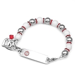 Silver White and Red Trim Stainless Steel Beaded Medical ID Bracelet