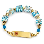 Caribbean Blue Swirl Stainless Steel Beaded Medical ID Bracelet