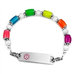 Glow in the Dark Stainless Steel Beaded Medical ID Bracelet