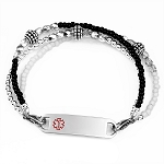 Salt and Pepper Triple Strand Stainless Steel Beaded Medical ID Bracelet