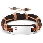 Stainless Steel Medical ID Bracelet with Dark Brown and Rust Color Leather and Hemp Strap