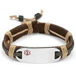 Stainless Steel Medical ID Bracelet with Earth Tone Leather and Hemp Strap