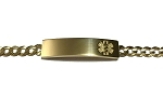 10K Yellow Gold Medical ID Bracelet with Concave Curb Chain