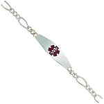 Sterling Silver Medical ID Bracelet with Figaro Chain