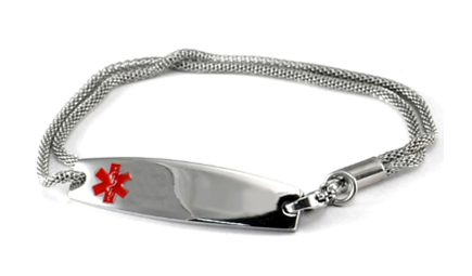 Double Mesh Chain Stainless Steel Medical Id Bracelet