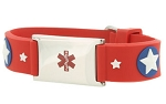 Super Star Rubber and Stainless Steel Kids Medical ID Bracelet