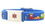 Choo Choo Train Rubber and Stainless Steel Kids Medical ID Bracelet - Blue
