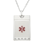 Stainless Steel Medical ID Pendant Necklace - Crystals