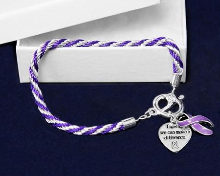 Epilepsy Awareness Silver Ribbon Purple Rope Charm Bracelet