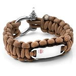 Paracord Survival Medical ID Bracelet with Screw Clasp - BROWN