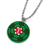 Rubber and Stainless Steel Medical ID Pendant - Green Soccer Ball