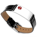 Black Leather and Stainless Adjustable Medical ID Bracelet
