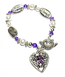 Epilepsy Awareness Silver Hope Strength Courage Charm Bracelet