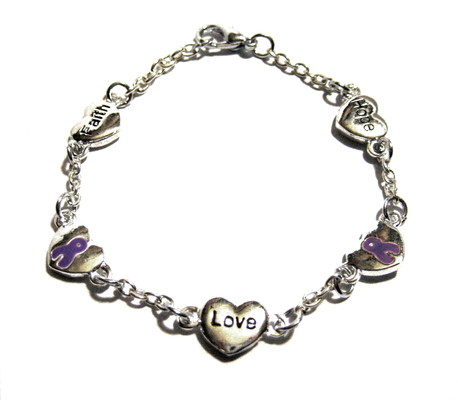 lupus awareness silver faith charm bracelet