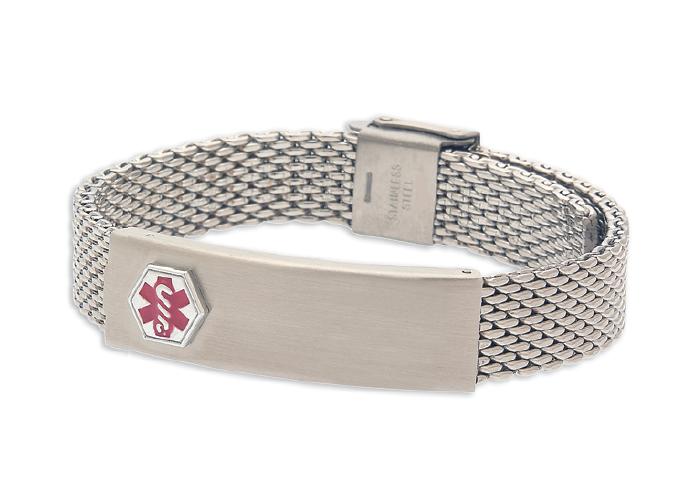 Stainless Steel Mesh Medical Id Bracelet