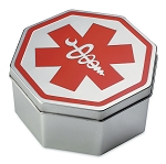 Metal Tin Gift Box with Medical ID Alert Symbol