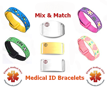 Kids Stainless Steel Medical Id Bracelet With Wish Sport Strap