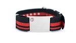 Nato Medical ID Bracelet - Black Red Stripe