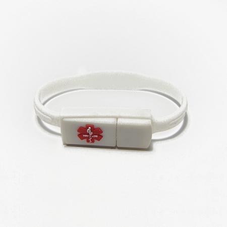 Key 2 Life 174 Emr Medi Chip White Silicone Band Usb Bracelet