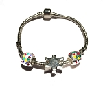 Autism Awareness Silver Dangling Three Charm Bracelet