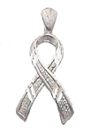 14K White Gold Silver Colored Awareness Ribbon Pendant