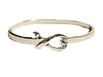 Medical Awareness Silver Ribbon Clasp Bangle Bracelet