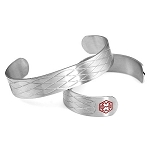 Stainless Steel Criss Cross Medical ID Cuff Bracelet