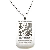 2BEID QR Code Medical ID Necklace - Army Dog Tag Style