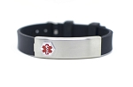 Black Rubber Stainless Compartment Medical ID Bracelet