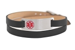 Double Wrap Medical ID Bracelet - Black Leather