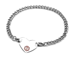 Stainless Steel Heart Medical ID Anklet with Curb Chain - Small Medical Symbol