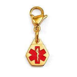 Clip On Stainless Steel Medical ID Charm Pendant - Small Gold Plated