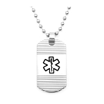 Groovy Stainless Steel Medical ID Dog Tag Pendant Necklace