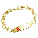 Heart Link Stainless Steel Medical ID Bracelet - Gold Plated