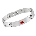 Hexagon Link Stainless Steel Medical ID Bracelet